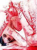 Pierced vampire chick gets drunk on blood