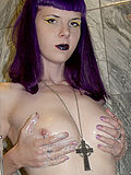 Purple haired nude goth girl with crucifix showers