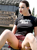 Perky busty alt girl plaid skirt cemetery sneakers
