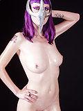 Slippery purple haired Szandora in chrome Cell mask