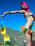 Super sexy skinny purple haired party girl naked in the sunshine