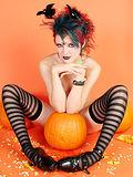 Gothic hottie ankles behind ears pumpkin penis