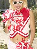 Dirty cheerleader slut drops uniform spreads wide