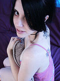 Tattooed rave chick pink panties strips spreads
