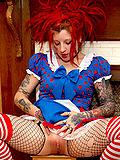 Wild tattooed dreadlocked plays plush doctor