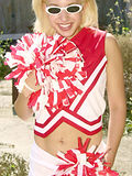 Dirty cheerleader slut drops uniform spreads wide